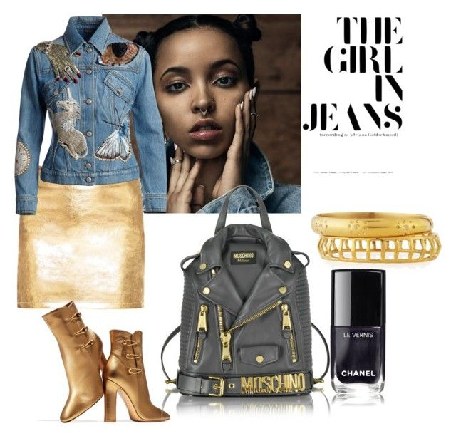 """the girl in jeans"" by sofiacalo ❤ liked on Polyvore featuring Alexander McQueen, Gianvito Rossi, Ashley Pittman and Moschino"