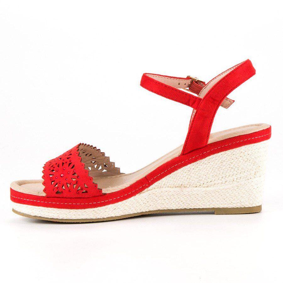 32ed43b15211b0 #Sandały #Damskie #IdealShoes #Ideal #Shoes #Czerwone #Espadryle #Na # Koturnie