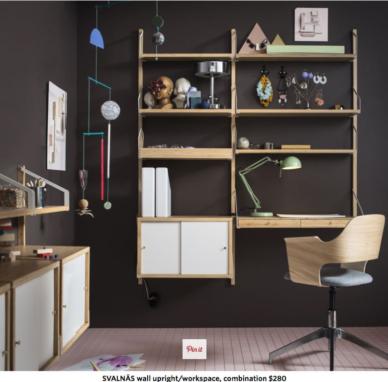 I Really Like This Ikea Floating Shelving System With Built In Desk Svalnas Wall Mounted Workspace Comb Ikea Wall Floating Shelves Kitchen Modular Shelving