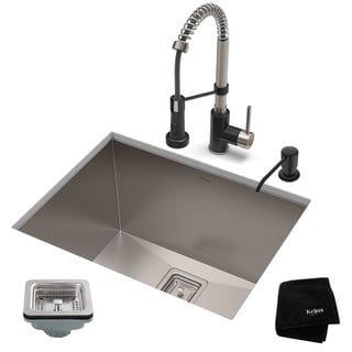 Kraus 24 Inch Stainless Steel Kitchen Sink Faucet Soap Dispenser Set Stainless Steel Matte Black Single Bowl Kitchen Sink Stainless Steel Utility Sink Sink