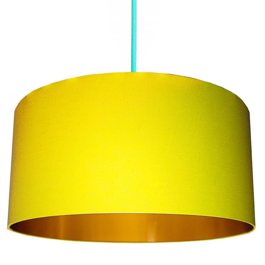Sunshine Yellow Lampshade With Gold Or Copper Lining