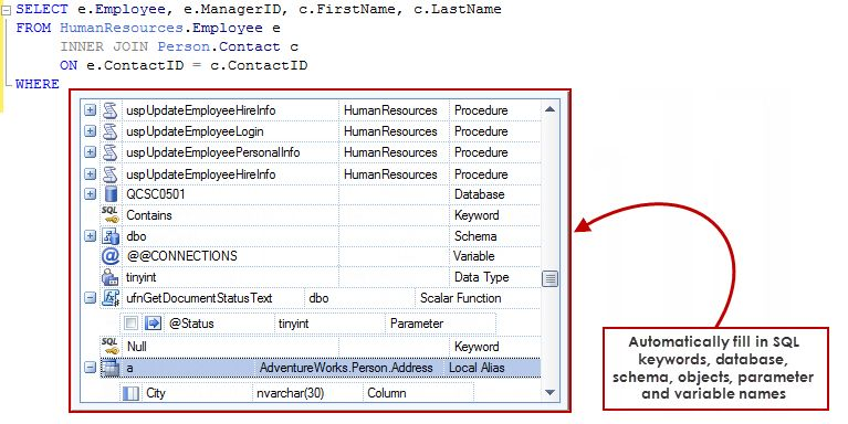 Sql Code Auto Complete Automatically Fill In Sql Keywords Database Schema Objects Parameter And Variable Names Coding Sql Sql Server Management Studio