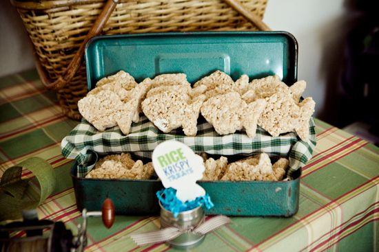 Ocean preppy boy party theme food fish shaped rice for Fish themed party food