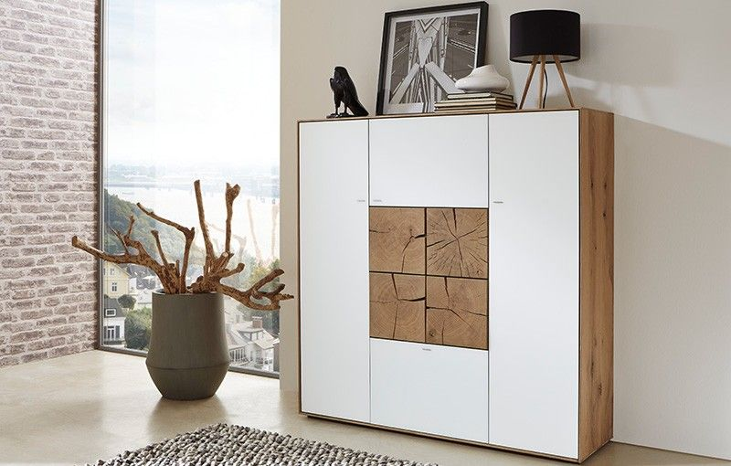 hartmann highboard caya kerneiche umato geb rstet mattglas. Black Bedroom Furniture Sets. Home Design Ideas