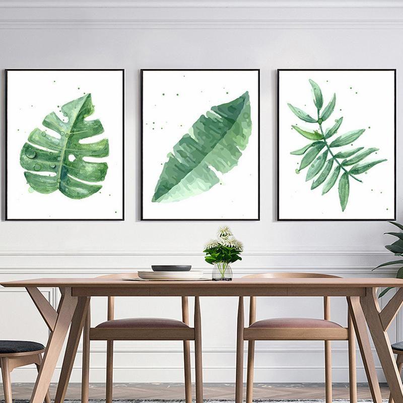 Greenery Plant Leaves Minimalist Simple Nordic Wall Art Canvas Prints Nordicwallart Com Wall Art Canvas Painting Green Wall Art 3 Piece Canvas Art