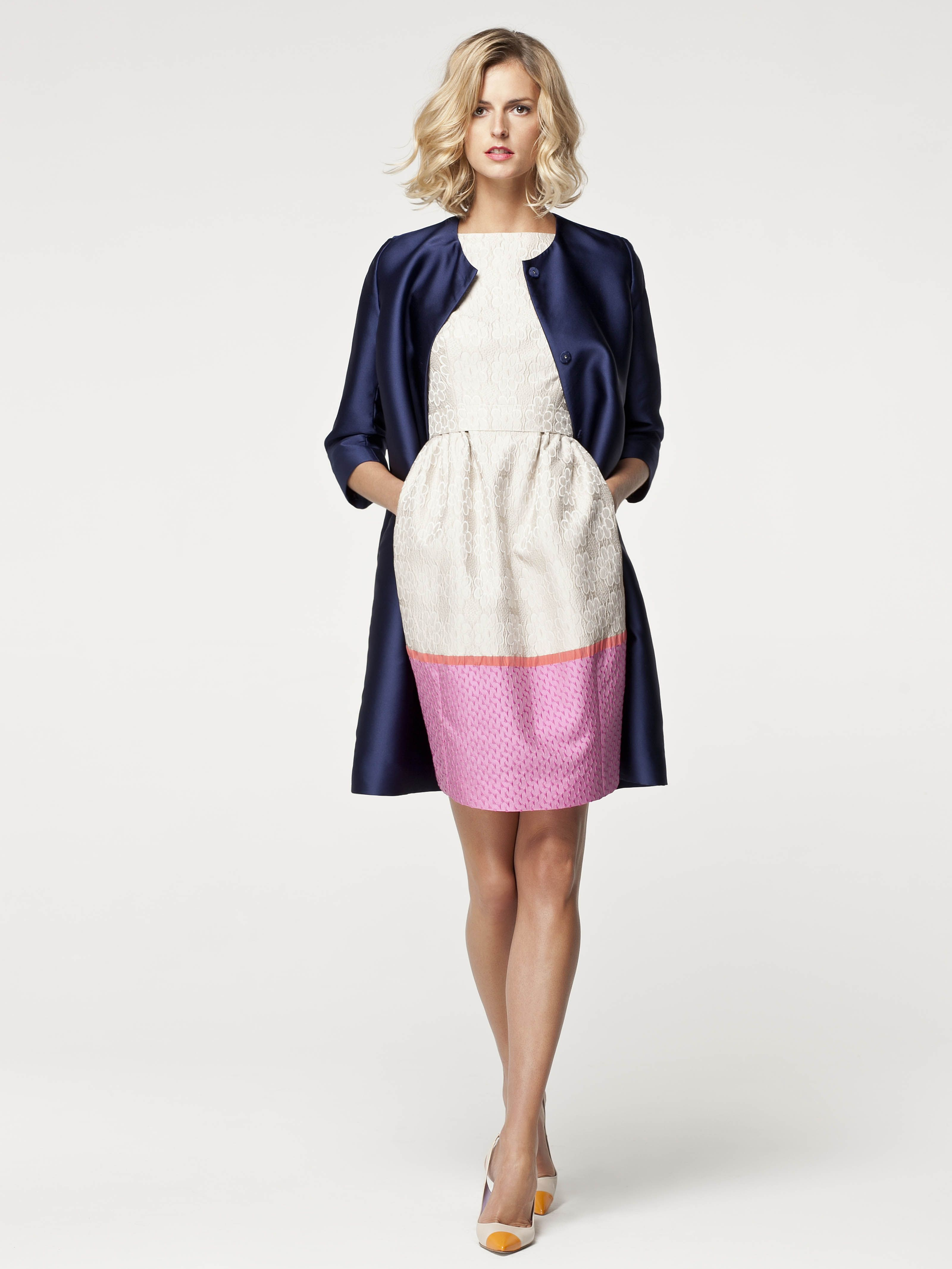 color blocking in pieces | coat and dress | office supplies