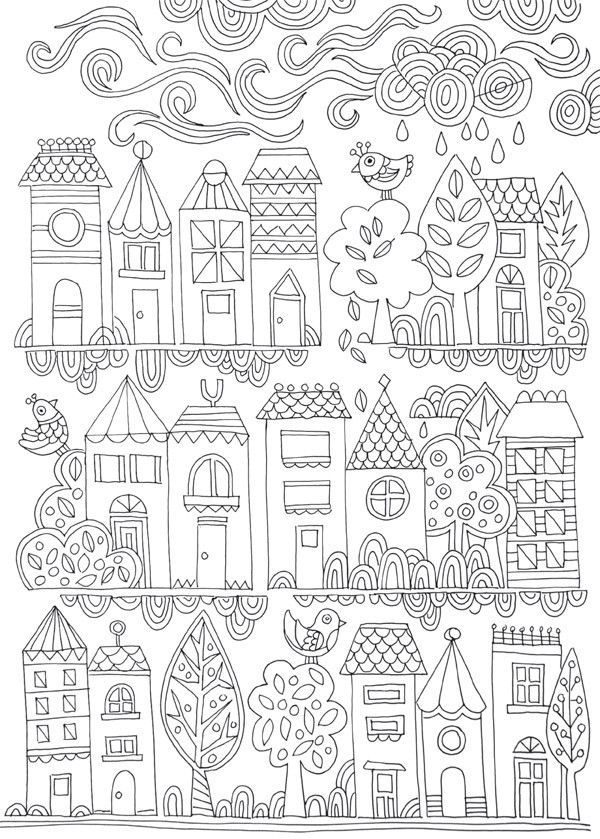 277 Best COLORING PAGES HOUSES BUILDINGS