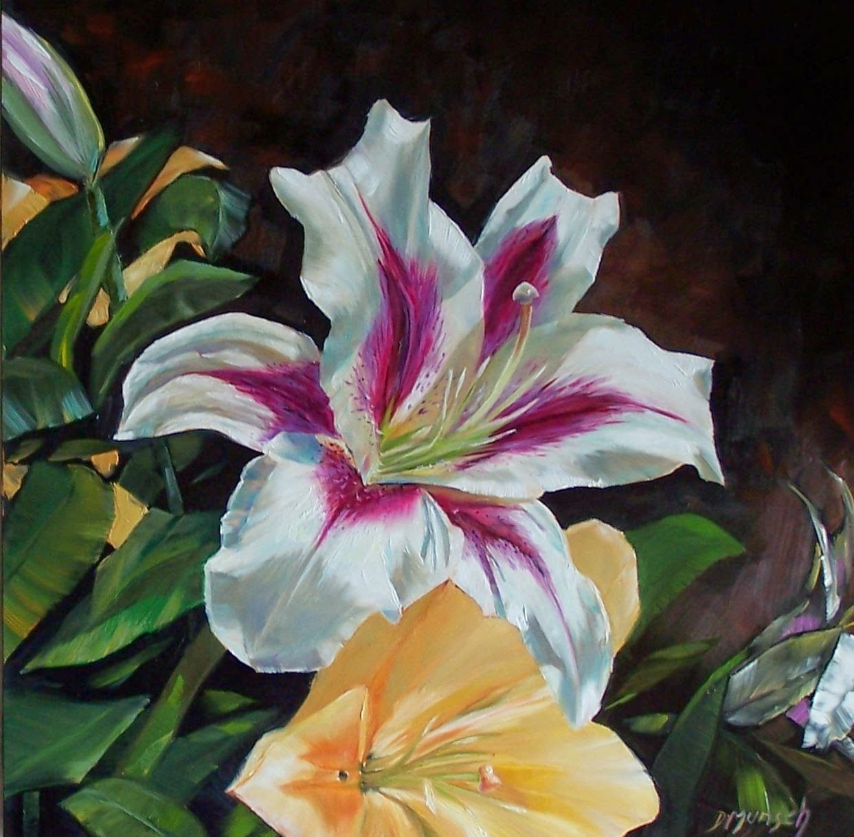 Donna munsch fine art original oil painting red and white lily art flowers izmirmasajfo Image collections