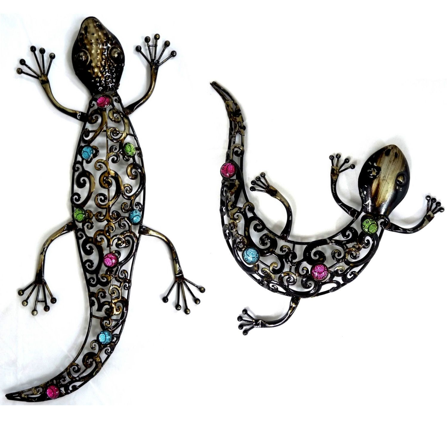Dark Metal Wall Art Hanging Gecko