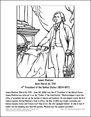 presidents sheets james madison worksheets and coloring pages