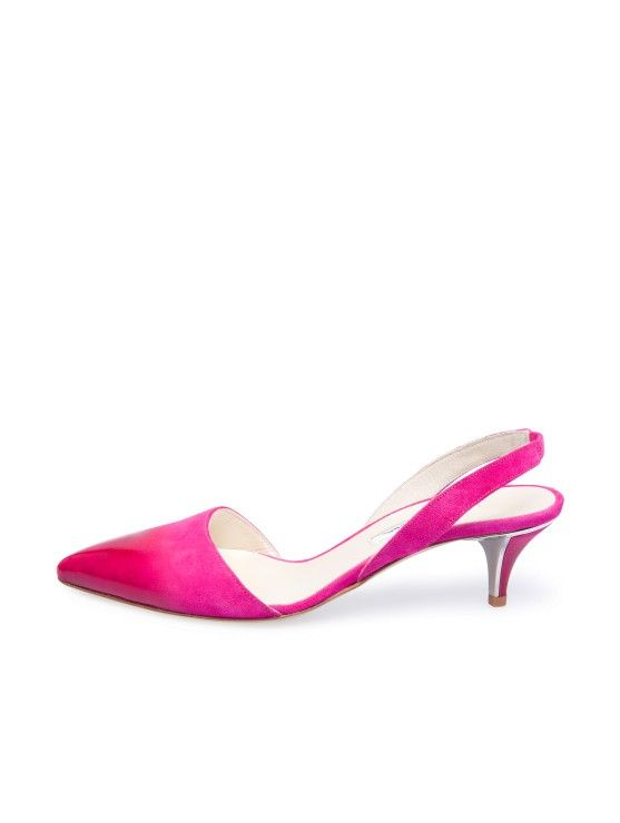 Shocking Pink Suede & Patent Dégradé Samie Slingbacks