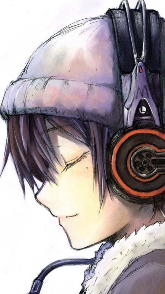 Anime Headphones Dark Hair Beanie Is This A Guy Or A Girl I Really Can T Tell They Have Boy Hair But Girly Lips Anime Anime Art Anime Boy