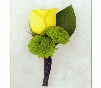 Yellow Rose w/Green Poms Boutonniere in Carmel IN - McNamara Florist