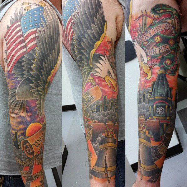 288eba6ef Liberty Bell With Bald Eagle Patriotic American Sleeve Tattoos For Men