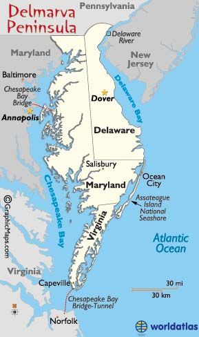 Delmarva Peninsula Map And Information Page One Peninsula Three - Delaware river on us map