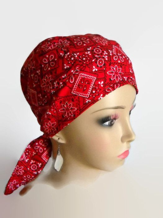Red Bandana Scrub Skull Caps Cancer Wear Pinterest Red
