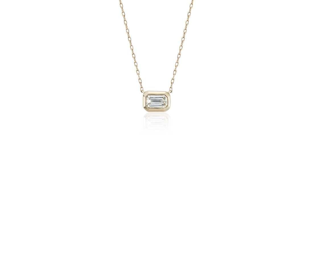 fab6cf8d18d0 Mini Bezel-Set Emerald-Cut Diamond Pendant in 14k Yellow Gold (1/5 ct. tw.)