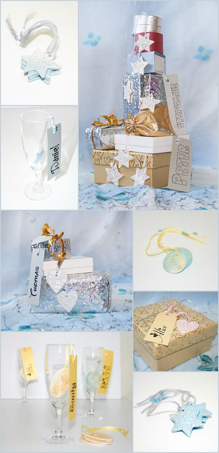 Winter holiday gift tags, table decorations or home ornaments ...