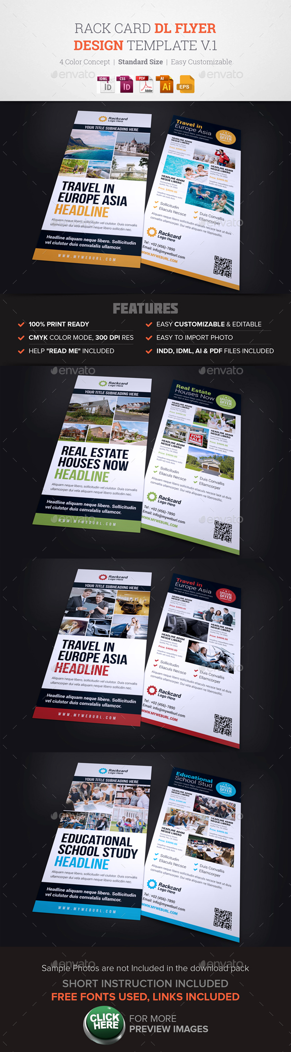 Rack Card Dl Flyer Design V  Flyer Template Brochures And