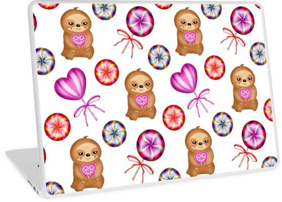 'Funny happy little pink baby sloths holding pink hearts. Sweet vintage retro lollipops. Cute girly white winter pattern design. Gift ideas for sloth and candy lovers. Nursery decor.' Laptop Skin by MerveilleDesign #hellodecember