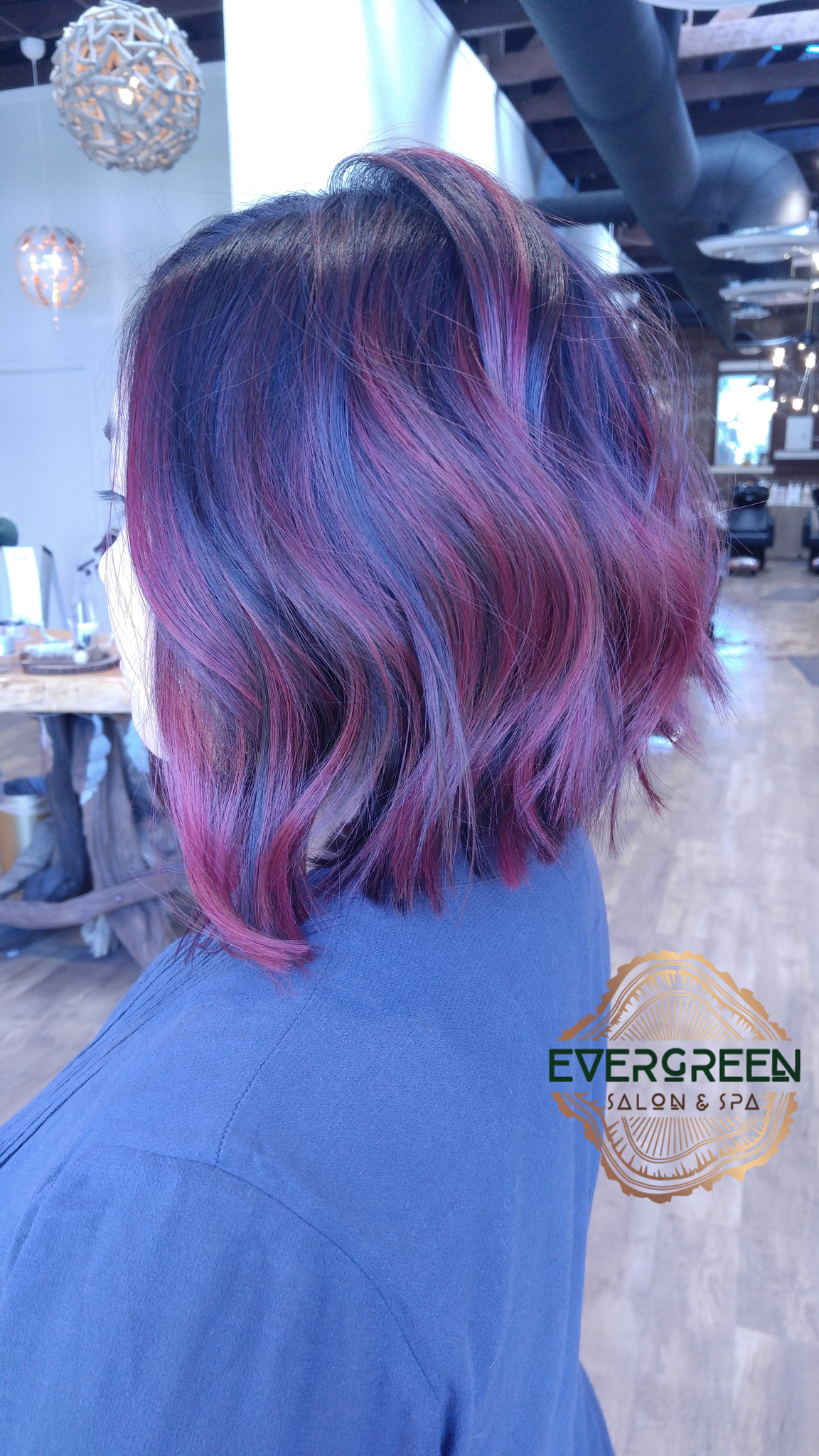 Black Purple Pink Red Blue Color Hair Short Medium Length Hair Wavy Curls Purple Ombre Hair Dyed Hair Purple Short Ombre Hair