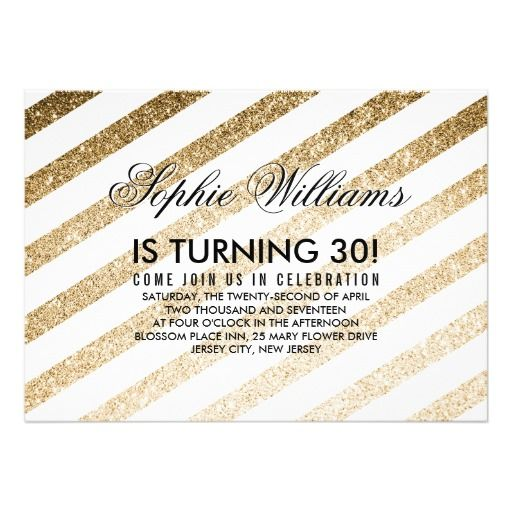 Stylish faux gold glitter birthday invitation stopboris Gallery