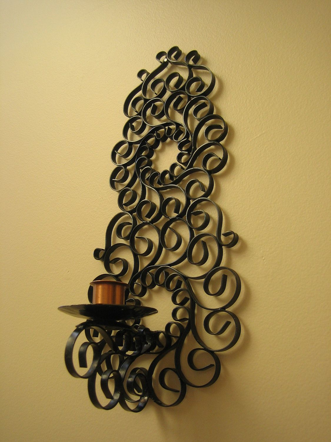 Magnificent Wrought Iron Wall Decor Candle Holders Sketch - The Wall ...