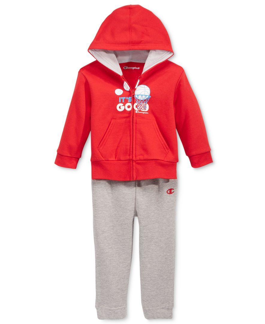 cc809ca4aaaa Champion Baby Boys  2-Pc. It s Good Zip-Up Hoodie   Pants Set ...