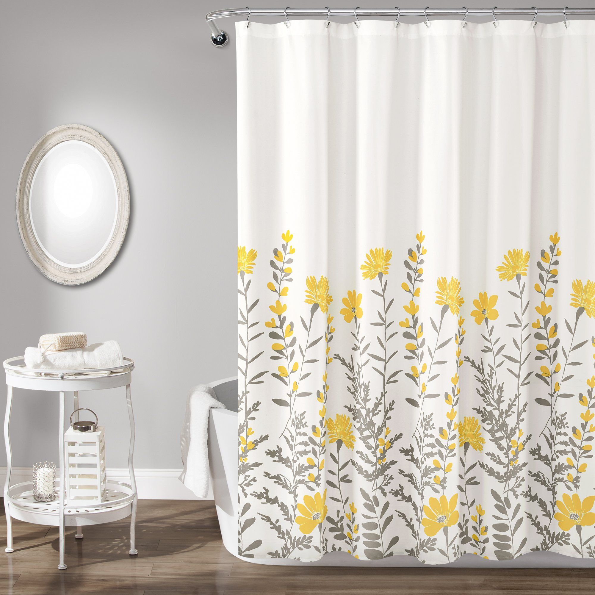 Aprile Shower Curtain In 2020 Yellow Shower Curtains Flower