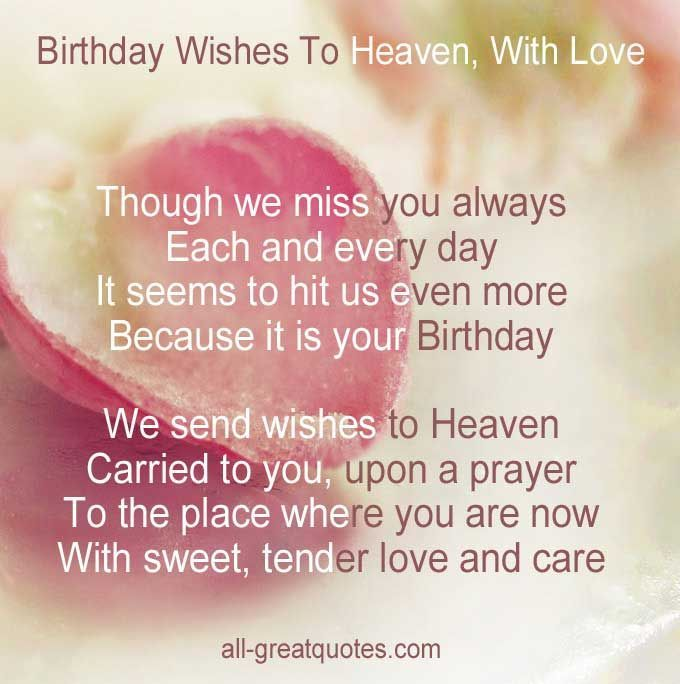 Sending Birthday Wishes To Heaven In Loving Memory Cards Via