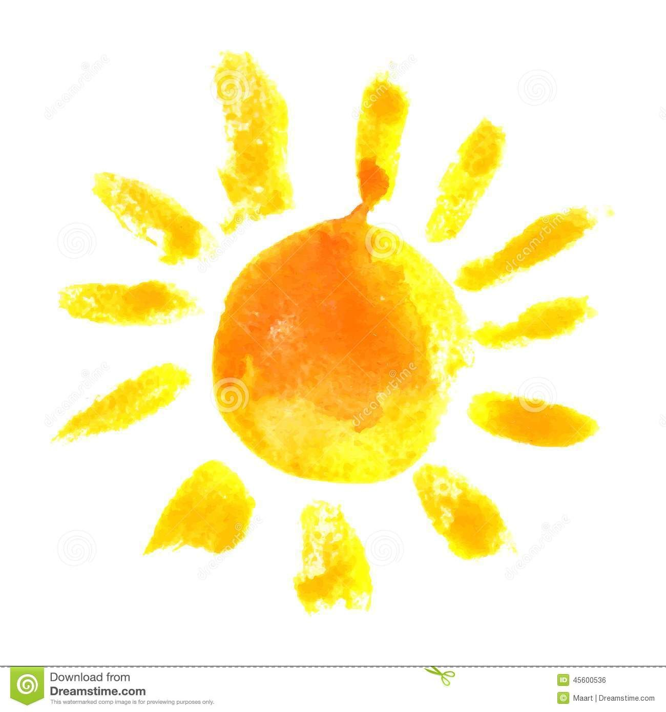 Watercolor Sun T A T Color How To Draw Hands Sun Stock Drawings