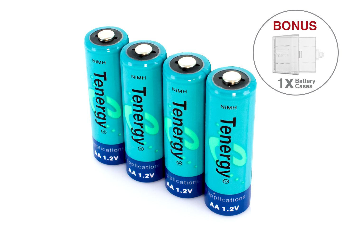 Combo 4 Pcs Tenergy Aa 2500mah Nimh Rechargeable Batteries 1 Case Nimh Rechargeable Batteries Battery Cases