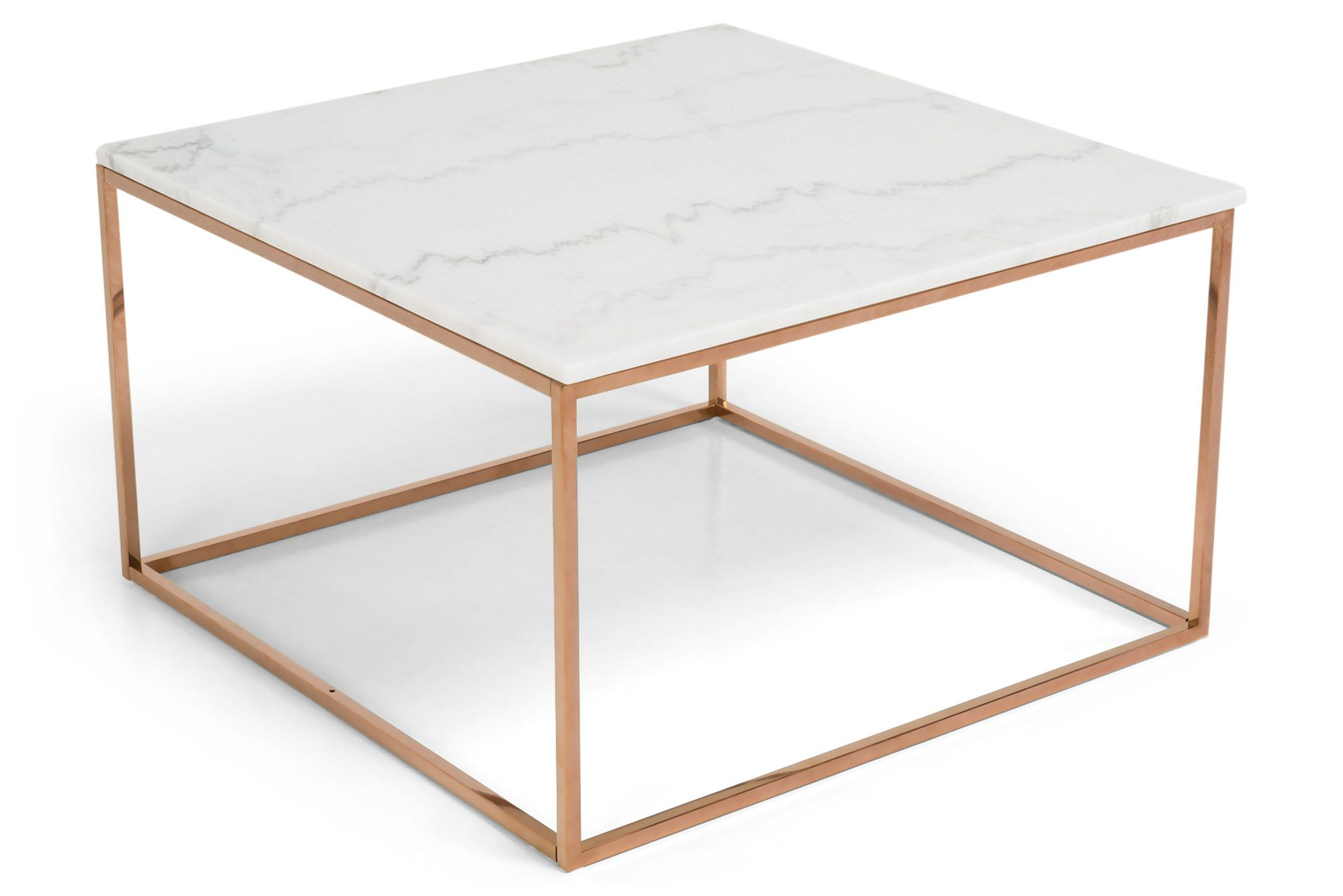 Sohvapöytä Titania Valkoinen marmori/Kupari  - 75x75x45 cm | Kodin1.com
