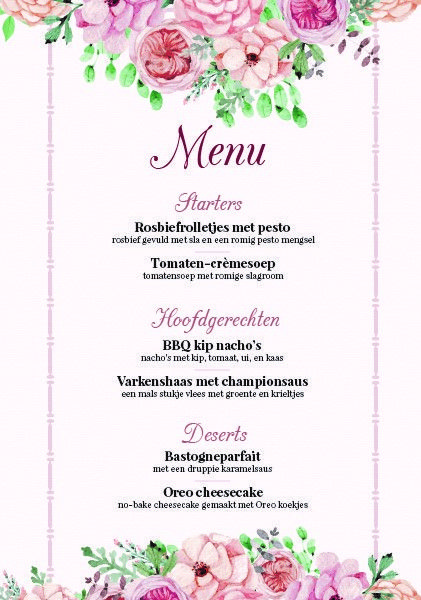 Menu 21dinner 21 birthday dinner pink flowers 21 diner menu 21dinner 21 birthday dinner pink flowers mightylinksfo Choice Image