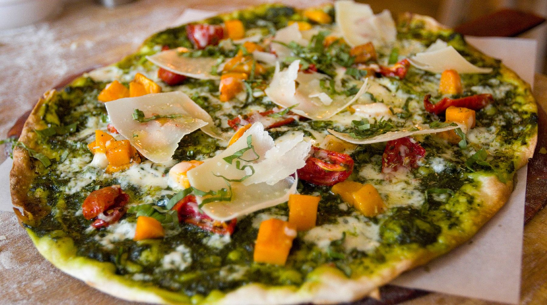 Join chef chuck hughes as he tours around the most famous american get skinny pizza with butternut squash roasted tomatoes and kale pesto recipe from cooking channel forumfinder Choice Image