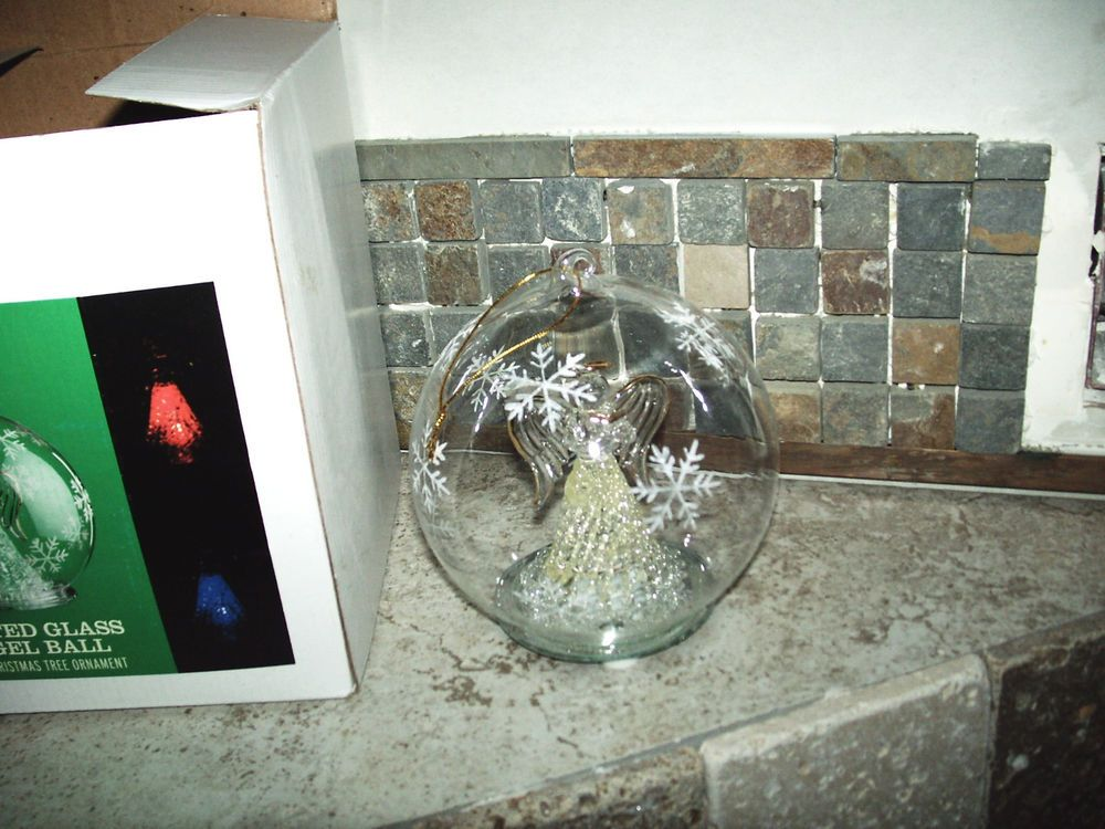 hallmark lighted glass angel ball extra large Christmas tree ball