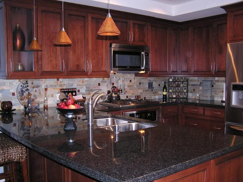 I have a bay window in my kitchen, I plan on getting rid ... on Backsplash Ideas For Black Granite Countertops And Cherry Cabinets  id=44367