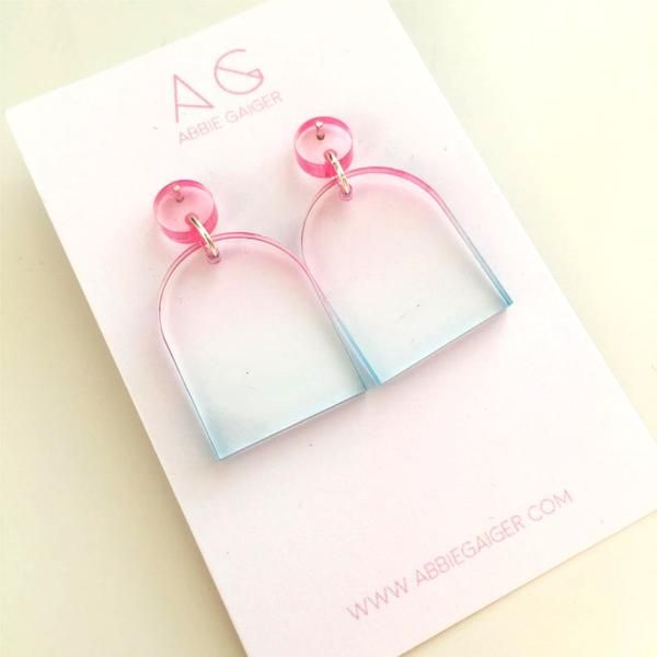 Abbie Gaiger Ombre Pink And Blue Rounded Stud Earrings - Trouva