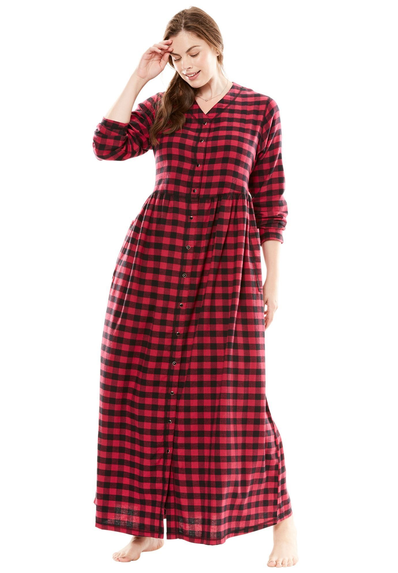 petite flannel snap-front lounger by only necessities® - women's