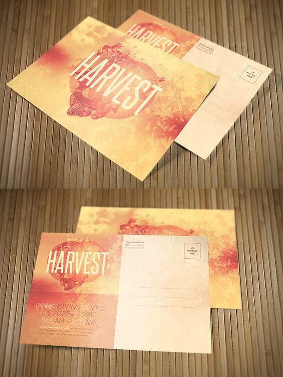 Lord Of The Harvest Church Postcard Invitation Templates