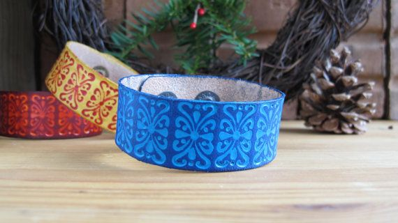 Holiday Blue Bohemian Tooled Leather Bracelet, Boho Accessories, Christmas Bracelet, Bohemian Leather Cuff, Christmas Stocking Stuffer $21.50 USD