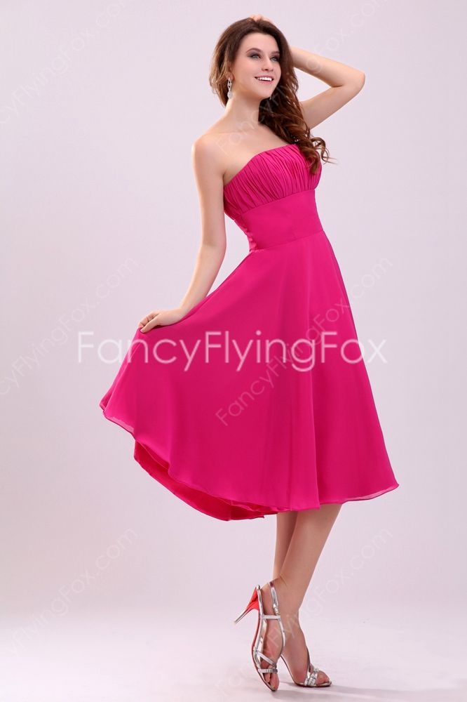 Hot Pink Simple A Line Sleeveless Backless Pleated Wedding Guest Dresses