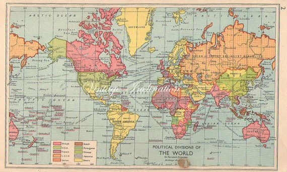 1949 vintage map of the world political color vintage maps 1949 vintage map of the world political color gumiabroncs Gallery