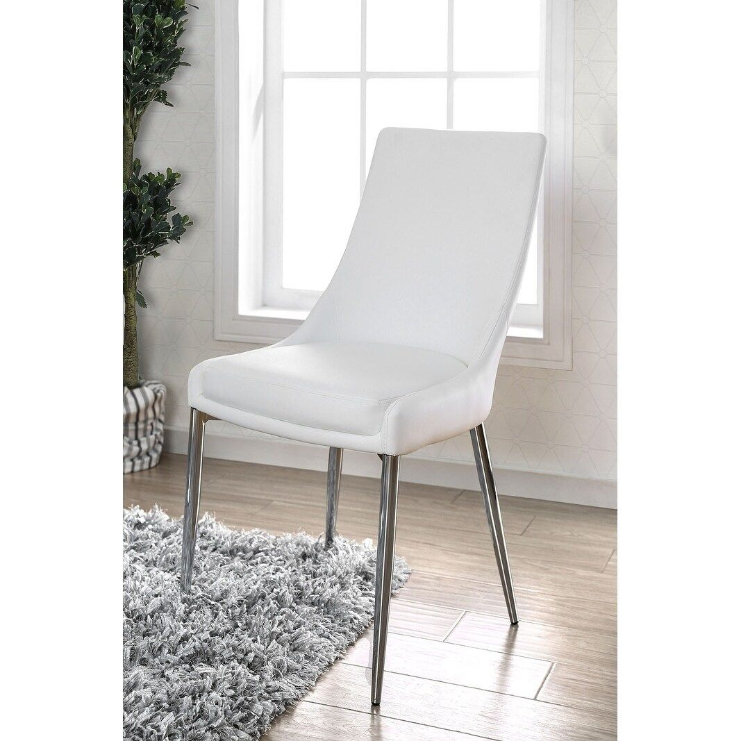 Leatherette Upholstered Metal Side Chair with Tapered Legs