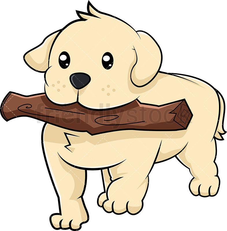 Labrador Puppy Playing Fetch Cartoon Vector Clipart