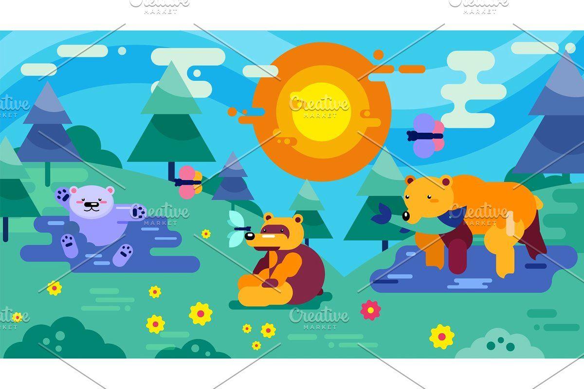 Bear Animal Nature Vector Illustration Wood Family