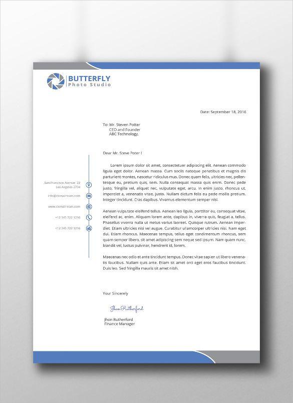 Professional Letterhead Templates Free Sample Example Format