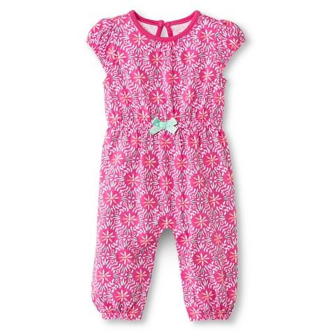 Cherokee Baby Girls Romper One Piece Pink Floral My Work
