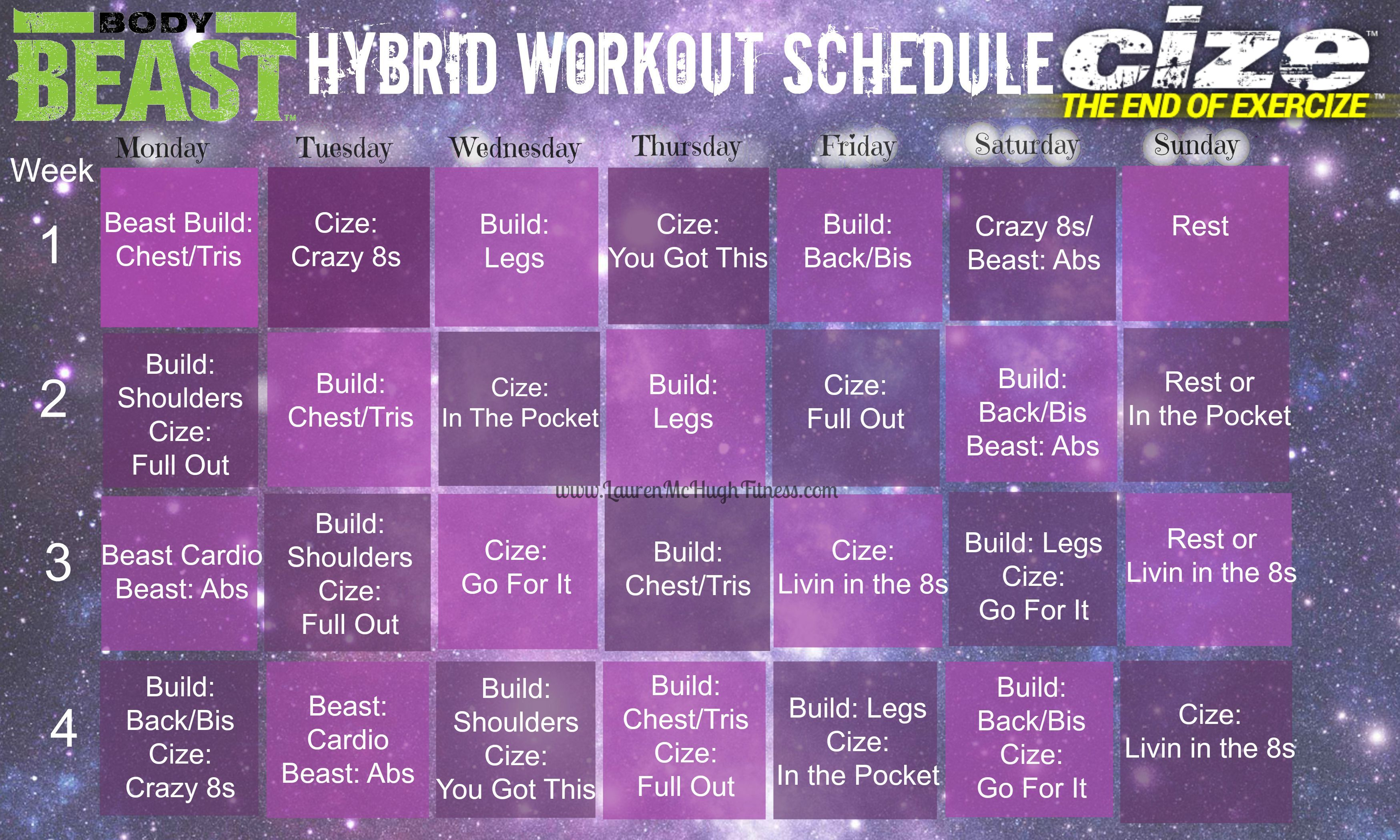 Body Beast And Cize Hybrid Workout Calendar