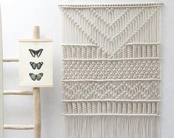 Gro e makramee wandbehang makramee vorh nge makramee wand kunst makramee muster - Wandbehang modern ...